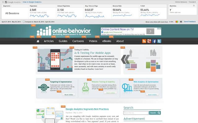 optimizacija spletnih strani - page analytics