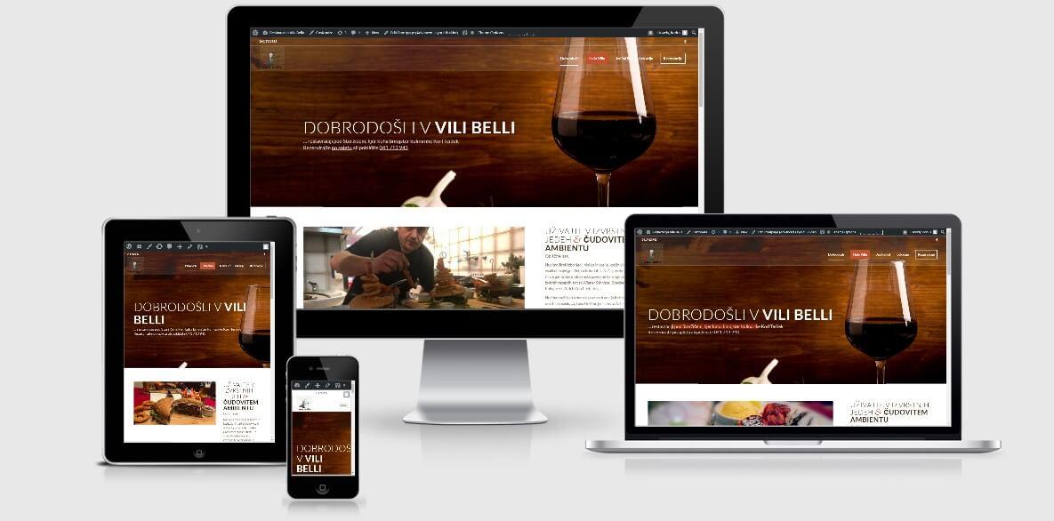 izdelava spletne strani za restavracijo vila bella zasloni