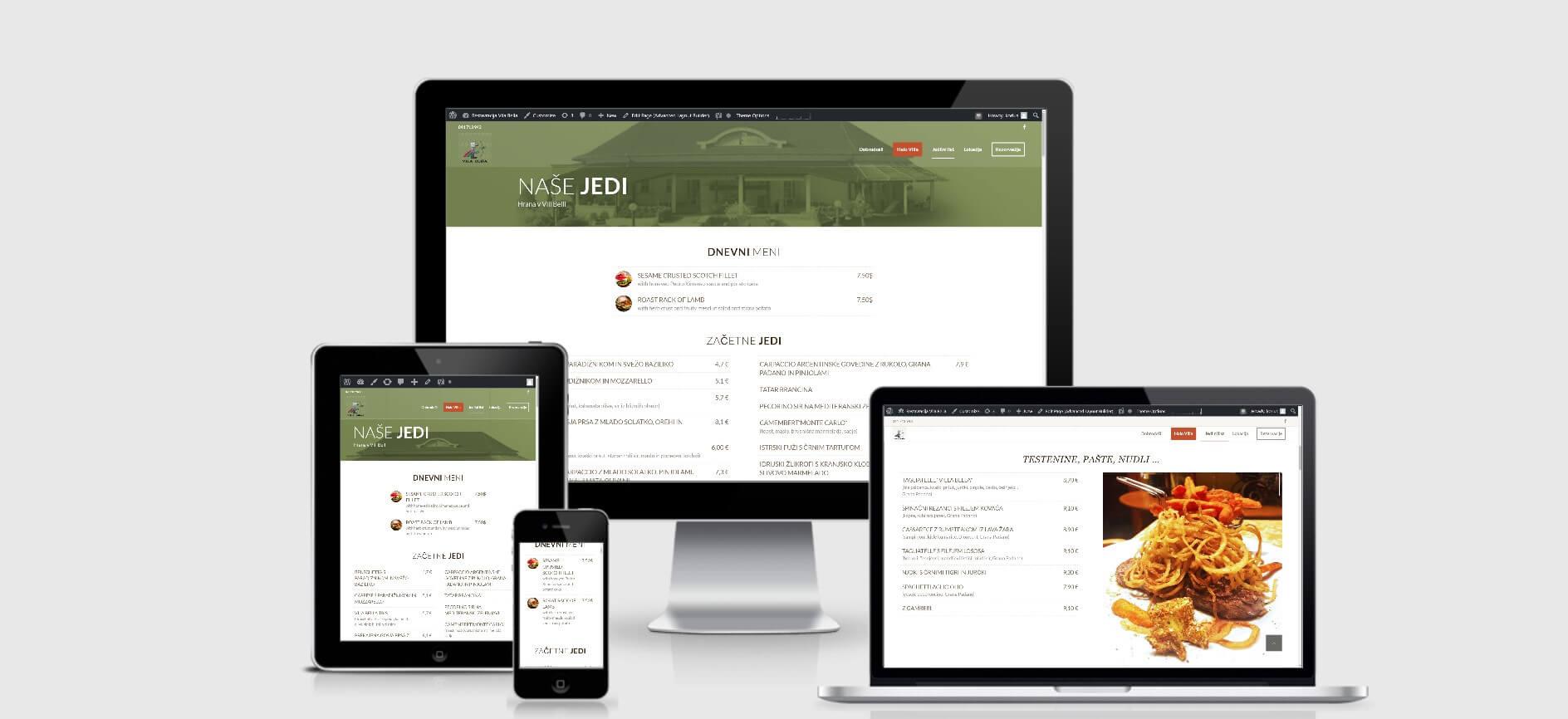 izdelava spletne strani za restavracijo vila bella zasloni2