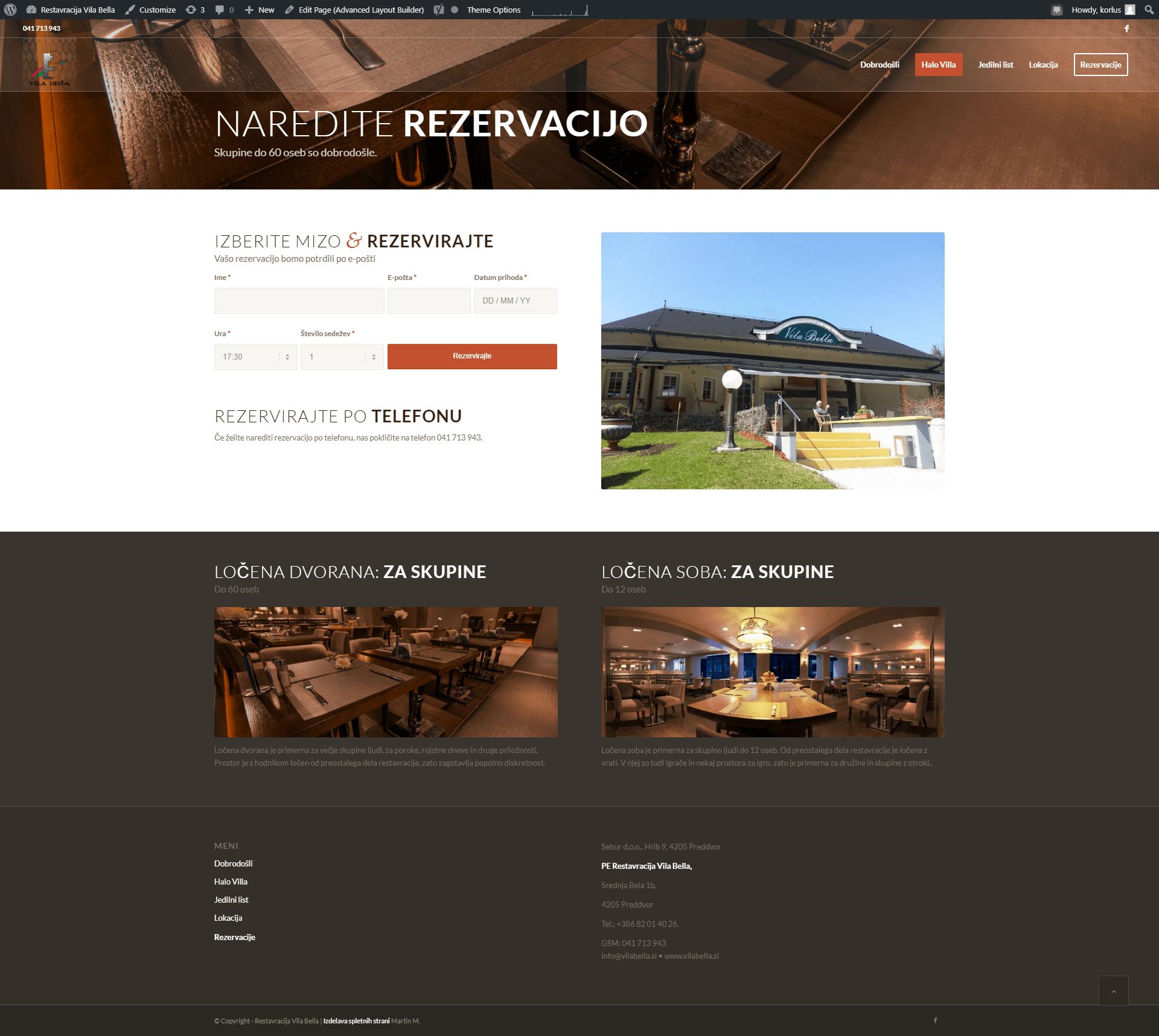 izdelava spletne strani za restavracijo vila bella